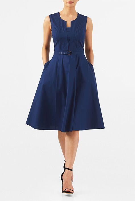 I <3 this Split front belted stretch poplin dress from eShakti
