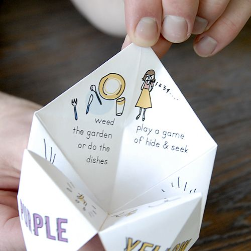 """Remember the paper """"fortune tellers"""" from childhood?  Here's a new way to use them!  (Do funny that I discovered this site today since I just taught the granddaughters how to make these last week!)"""
