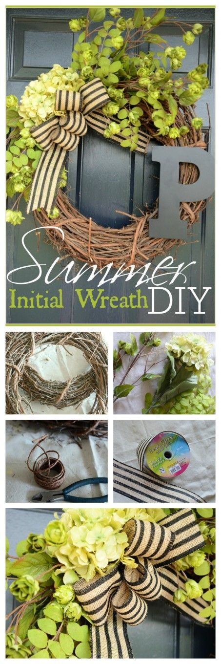 SUMMER INITIAL WREATH DIY Easy to make and perfect for your summer front door