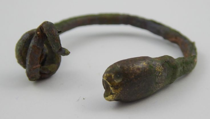 Ancient Roman Empire Antique Metal Childs Bangle Snake with Coil Tail - The Collectors Bag
