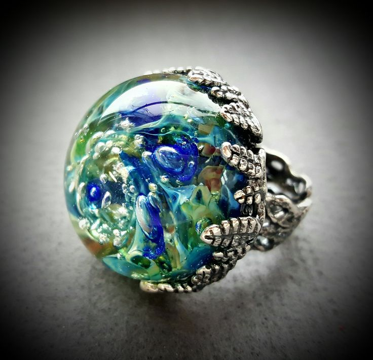 Ring with big blue and green glass lampwork cabochon. Silver plated brass, changeable. by AnnaBronze on Etsy