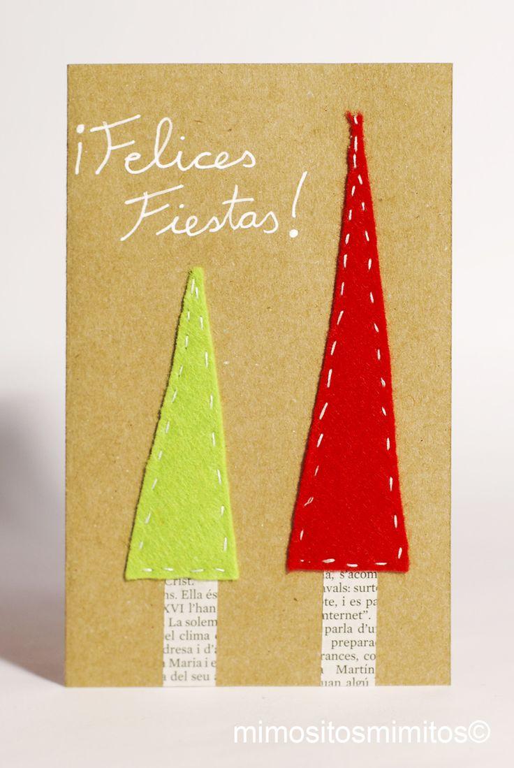 Postal, navidad, xmas, nadal, christmas, papelería, árboles, avetos, fieltro, ecofriendly, ecológico, cartón, reciclaje