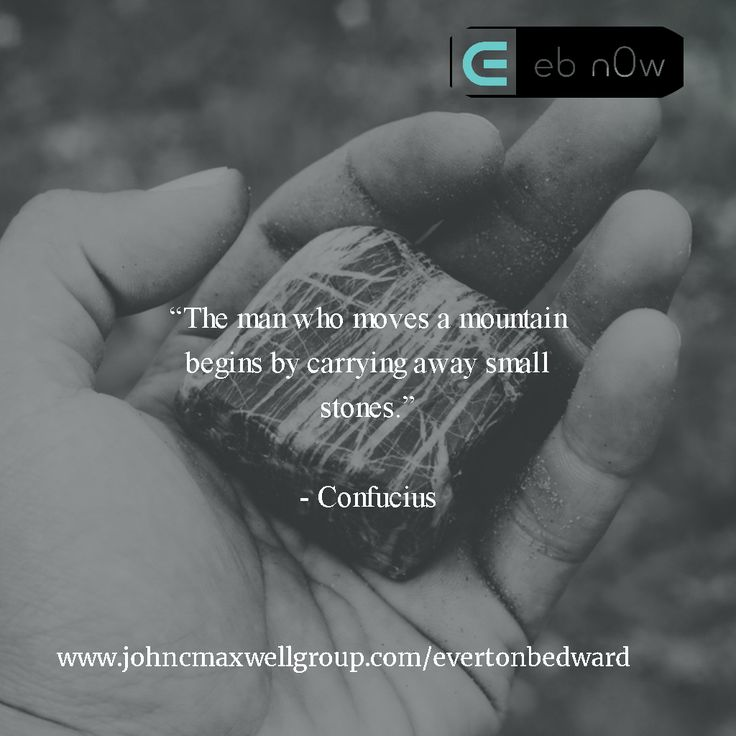 """""""The man who moves a mountain begins by carrying away small stones.""""   - Confucius"""