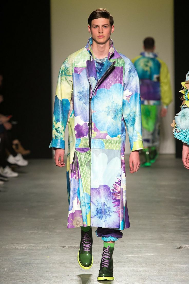 RACHEL JAMES - GRANNY FLOWER MAN POWER  Printed floral leather long biker coat