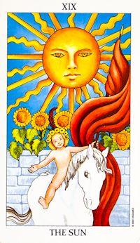 The Sun (19) - Upright: Fun, warmth, success, positivity, vitality.  Reversed: Temporary depression, lack of success.