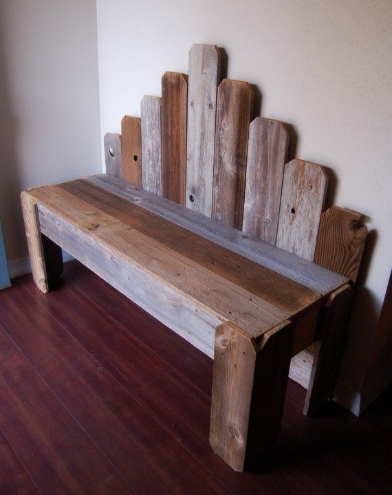 Recycled Wood Bench. Large Garden Bench Over 4 by TRUECONNECTION