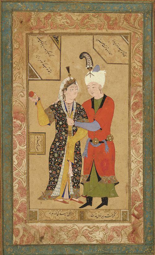 A prince and princess embrace ca. 1550 Abdullah Uzbek period Ink, opaque watercolor and gold on paper. H: 34.5 W: 21.9 D: 0.0 cm Bukhara, Uzbekistan S1986.301