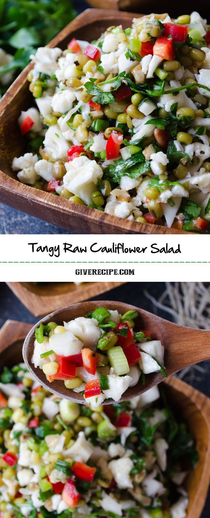 Raw Cauliflower Salad is a festive detox salad with greens and mung beans. Very healthy and filling! | http://giverecipe.com | #cauliflower #mungbeans