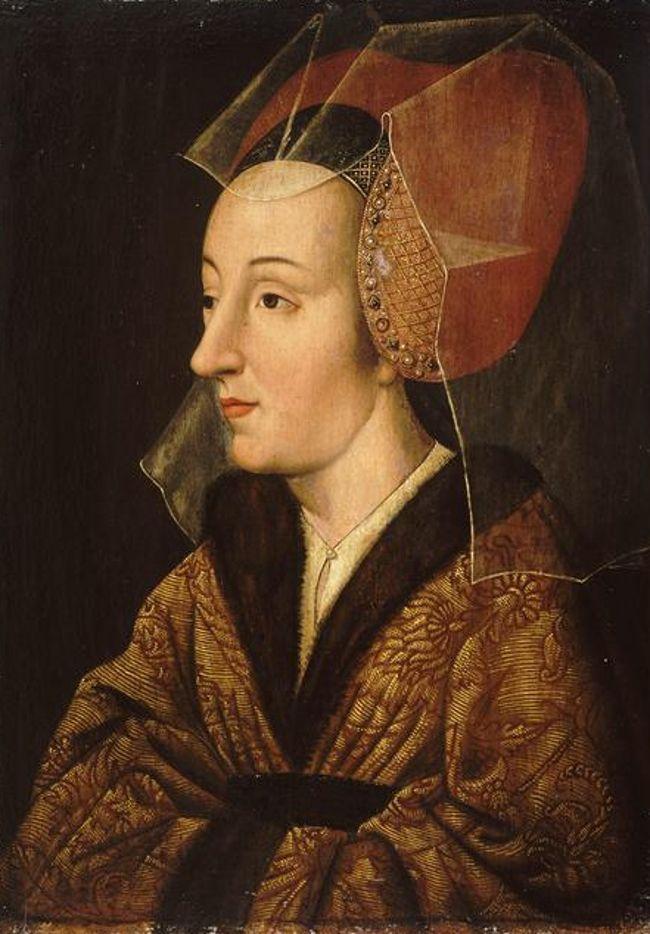 Isabelle de Portugal, duchesse de Bourgogne, âgée. Wearing headdress for women from the 15th century.