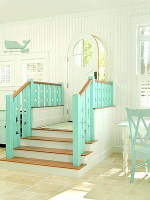 Perfect beach house: The Doors, Idea, Beaches House, Stairs, Than, Dreams House, House Color, Aqua, Beaches Cottages