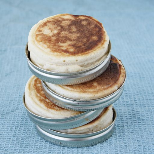 Just-like-thomas english muffins baked in jar lids..recipe included from dishingthedivine