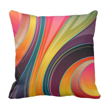 Abstract spiral rainbow colorful design throw pillow - #throwpillow #pillows #cushion #colorful #rainbow