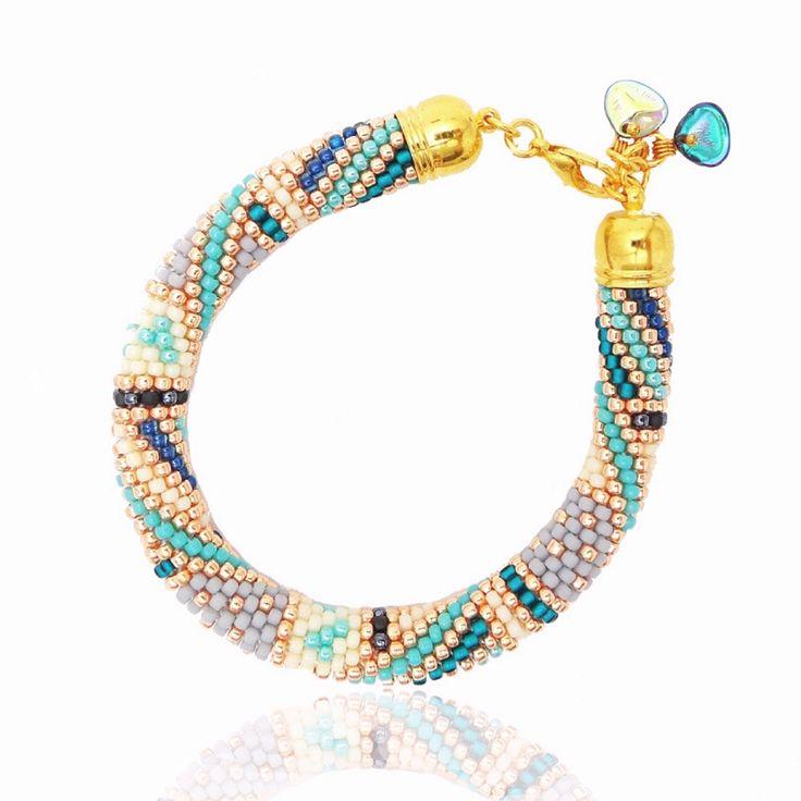 "Bracelet ""Inca Gold"" Handmade bracelet made of Toho Beads Bead Crochet Technique. #beading #beadwork #beadcrochet #jewellery #jewelry #handmade"