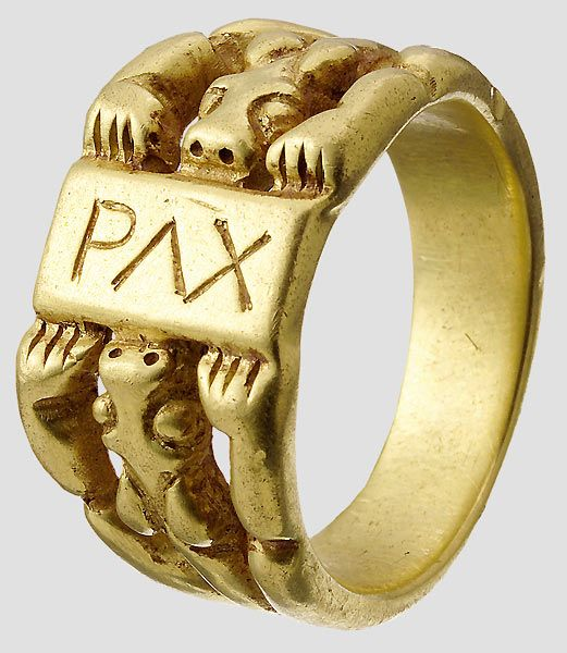 "Los No.430 Golden finger ring Salian, 1st half 11th century. Biconical ring rail in the form of two lions with head and paws. The rectangular plate with chiseled, Latin inscription ""PAX"". Diameter 26 mm, weight 25 g. See. a very similar gold ring in the Pforzheim Jewelry Museum, published in the catalog ""The kingdom of Salinger 1024-1125"" exhibition at the Roman-Germanic Central Museum in Mainz. 1992"