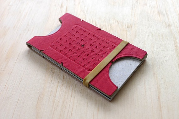 Dieter Rams inspired Minimalist cardholder/wallet. Red specialty paper on brown card. Holds business cards and/or credit cards.