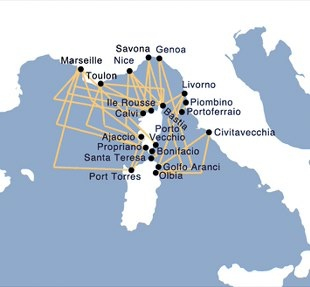 Ferries to Sardinia - Map of Routes