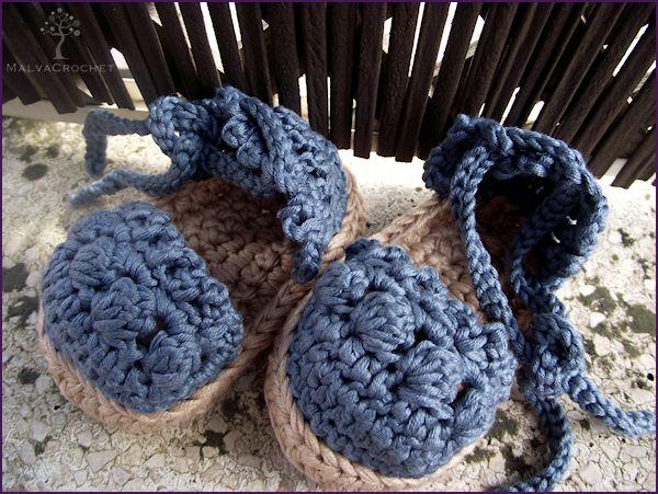 Alpargatas para bebé tejidas a mano en crochet con tejido de algodón,  modelo alpargata valenciana