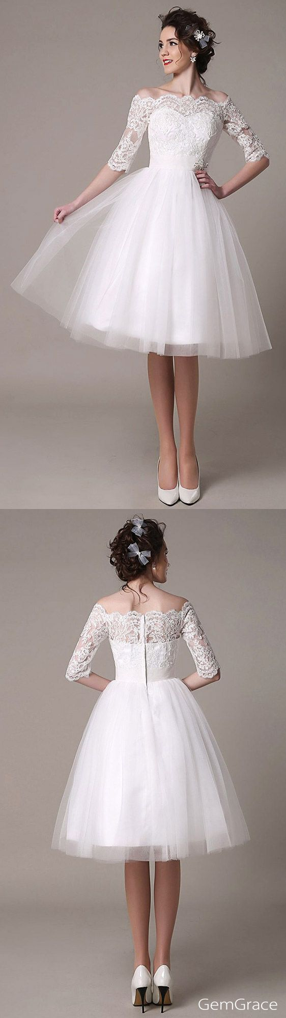 Vintage short wedding dress. I love Vintage! This beautiful knee length wedding dress is made with tulle and unique lace. One elegant half sleeved lace style for summer weddings. Unique Vow renewal dress, mature brides wedding dress, reception dress, dress for bridal shower… For comfy wearing, custom it for your size. (Bodice) – Olga Lengyel