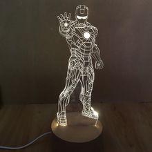 3D War Machine Iron man Bedroom Night LED Desk Table Light Lamp Night Light For Children