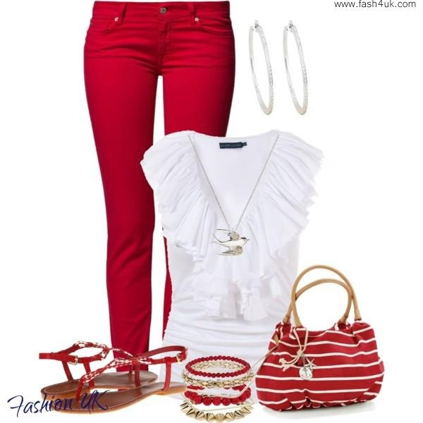 www.fash4uk.comSummer Fashion, Red And White, Woman Outfit, Fashion Ideas, Summer Outfit, Red Jeans, White Outfit, Summer Night, Red Pants