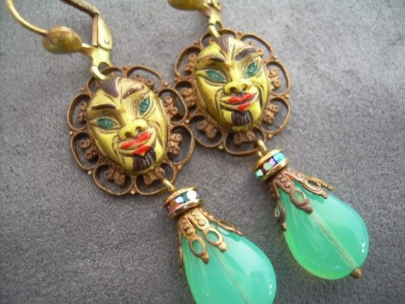 Tribal Mask Earrings by AxelsCastle on Etsy, $30.00