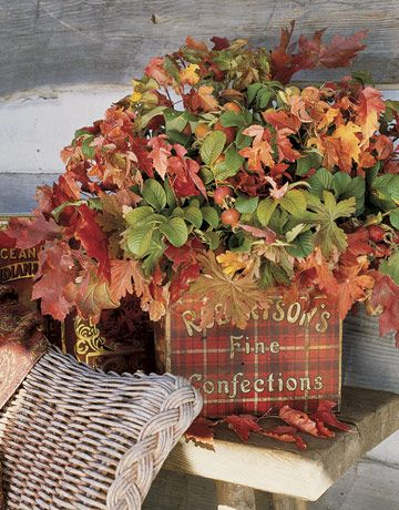Brightly hued autumn leaves offer a season-appropriate alternative to a floral bouquet this time of year.