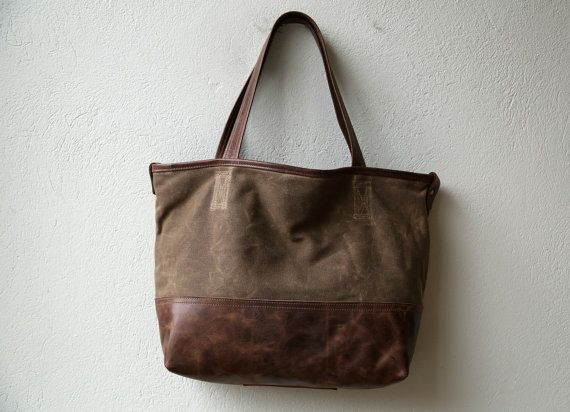 waxed canvas tote  PROPER TOTE with or by roughandtumblebags, $168.00