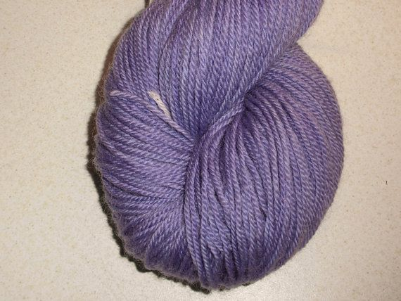 Blue Violet Lavender Handdyed Corriedale Wool DK Weight Yarn, 3-ply, For Knitting, Crochet and Felting