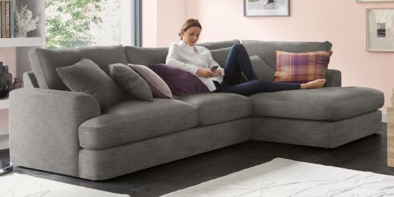 Stratus V Large Chaise End Corner Right Hand 4 Seats Boucle Weave Dark Grey From The Next Uk Online