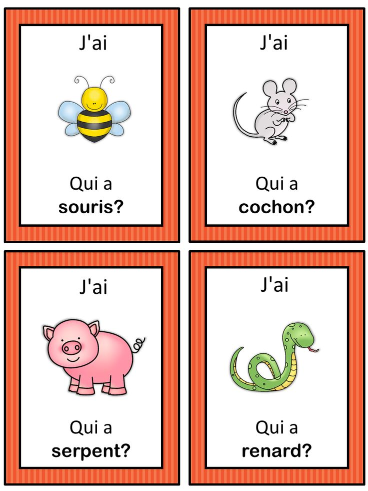 I have who has. French version of the I have ... Who has ...? game. This French game can be played to practice French animals. The game has 39 cards with a colorful frame and 39 cards with a simple black frame to save you ink. There are 4 cards per page.