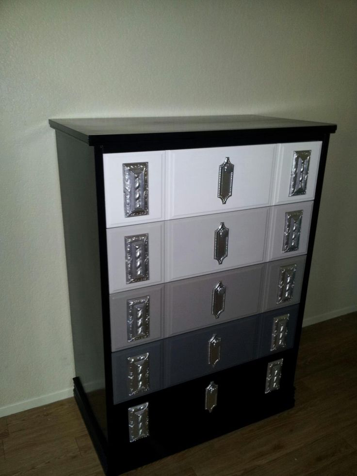 5 Drawer Dresser Repainted With A High Gloss White Three Shades Of Grey And Black Paint