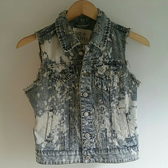 Early Black Friday!!!  Distressed Punk denim vest Distressed and discolored for a wicked grunge look. Urban Outfitters Jackets & Coats Vests