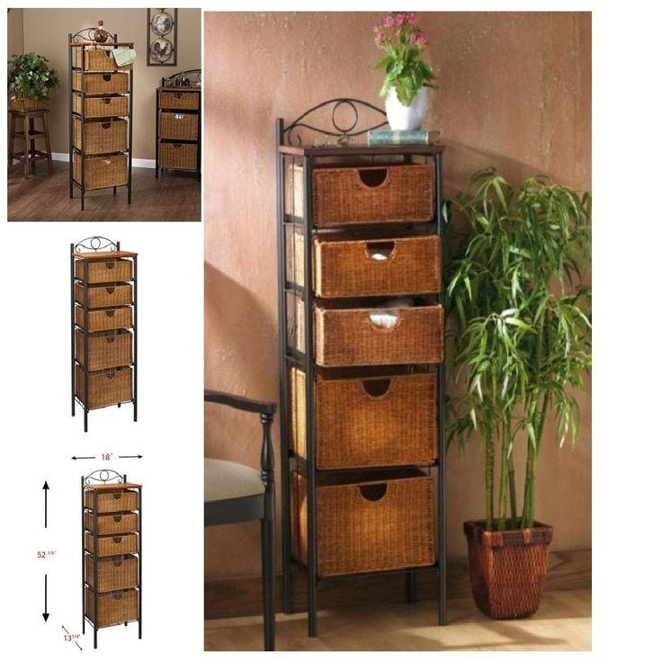 Storage Chest Wicker Baskets Drawer 5 Dresser Wicker Baskets BlackCaramel Finish #SEI