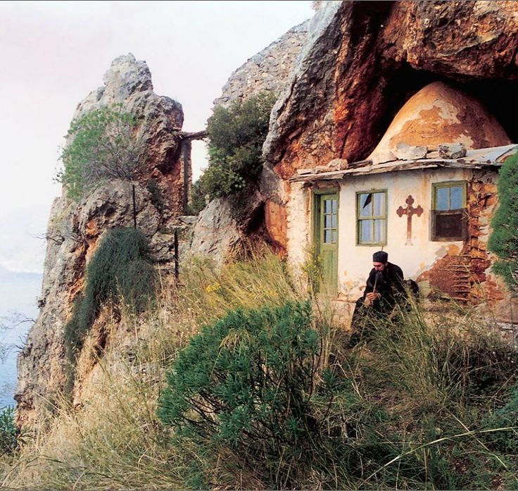 The Chapel of St. John the Baptist in the caves of St. Anne Minor, Mount Athos, Greece