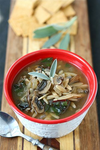 Healthy Mushroom & Swiss Chard Soup Recipe {Vegetarian}...Comfort in a bowl! | cookincanuck.com