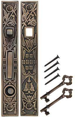 Hummingbird Bit-Key Single Pocket-Door Mortise Lock in Antique-by-Hand | House of Antique Hardware