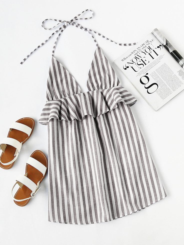 Grey Vertical Stripe Halter Neck Plunge Frill Trim Mini Dress