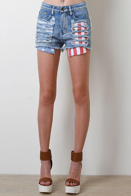 America Denim Shorts - Pulse Designer Fashion