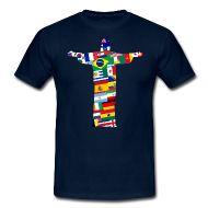 Alle Teilnehmernationen bei der Fußball Weltmeisterschaft 2014 in Brasilien. Die Fahne des Landes als Kugel als Umriss der Christusstatue von Rio de Janeiro.