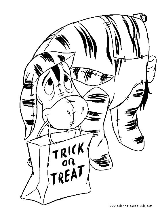 Winnie The Pooh Halloween Eeyor Color Page Holiday Coloring Pages Plate Sheetprintable Picture