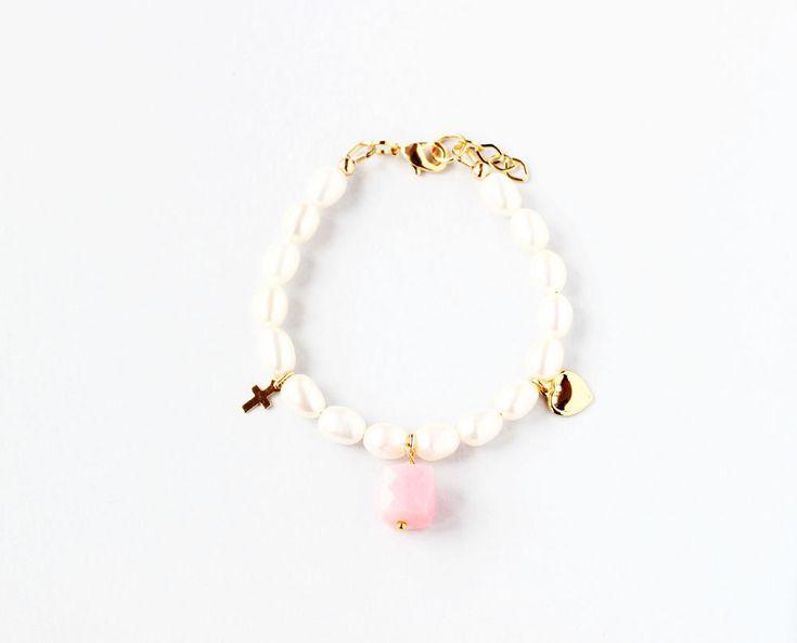 October Birthstone First Communion Bracelet, Pearl Communion Bracelet, Communion Jewelry Gift, Communion Keepsake, Birthstone Gift Kid, Girl – Children's Bracelets