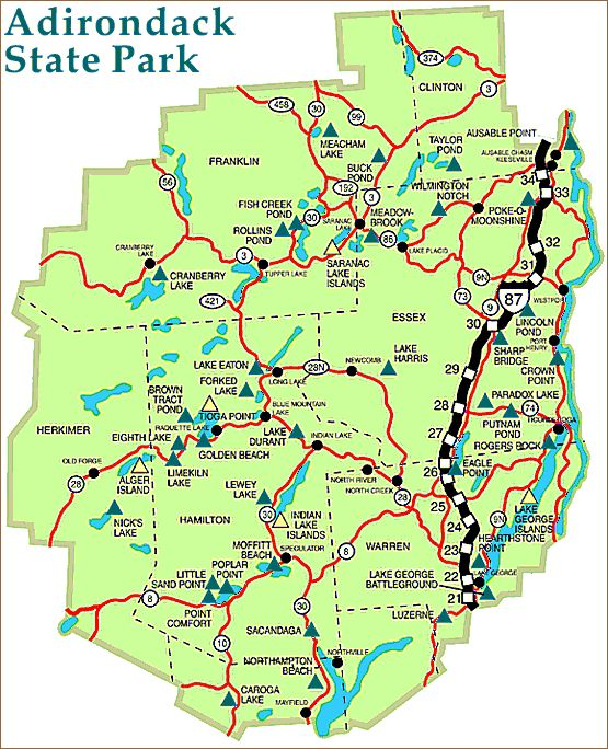 Adirondack Mountains Map | Adirondack Park Map, Adirondack photography by John Gates, pictures ...
