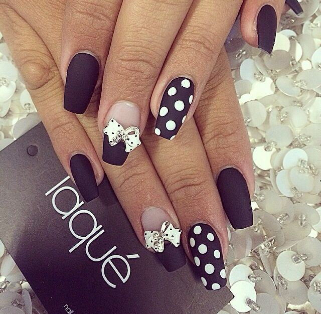 cute matte black and white nails