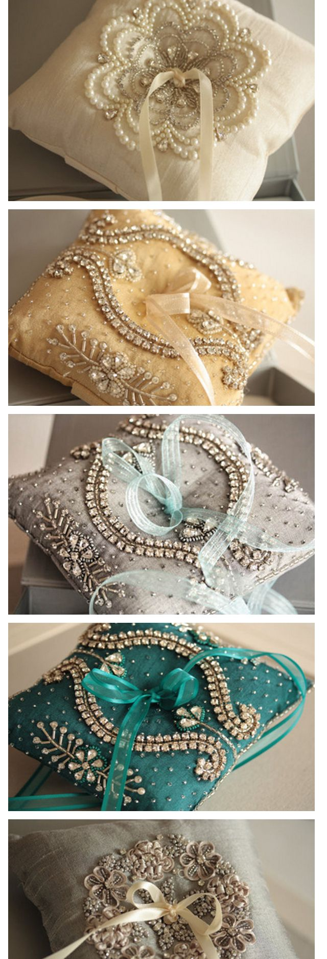 Ring bearer pillows - beautifully embellished