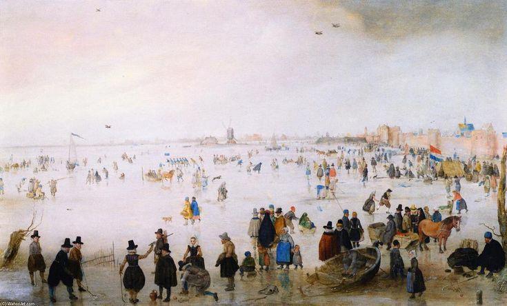 """""""Winter Scene outside the Wall of Kampen"""", Oil On Panel by Hendrick Avercamp (1585-1634, Netherlands)"""