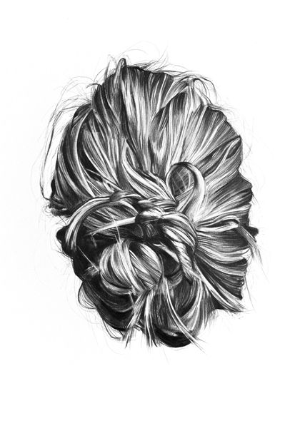 Hair pencil drawing by louise paludan