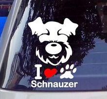 Cão de estimação de neve ruina adesivo amor cão Schnauzer estilo do carro fita reflexiva vinil adesivo decalques(China (Mainland))