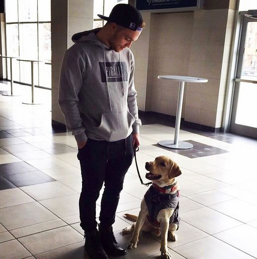 Max Domi with Orion a Diabetic Alert Dog. (Instagram)  big fan of knights forward...