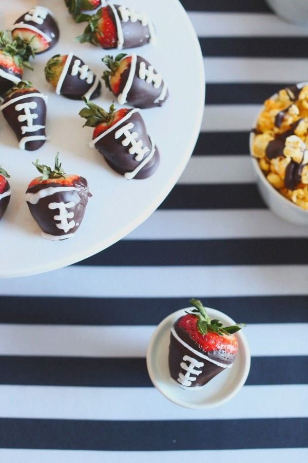 Goodness - this would be a beautiful party - not MINE, but beautiful…LOL <3 those football berries! Super Bowl Party Ideas Done Right - from Style Me Pretty