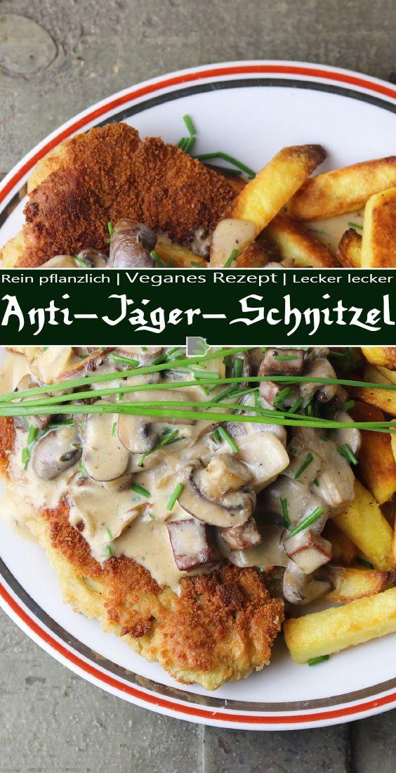 Anti-Jäger-Schnitzel mit Pommes und Pilzsoße